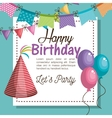 hat red happy birthday party graphic vector image