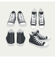 set of isolated cartoon black sneakers vector image