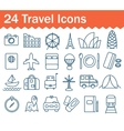 Thin line travel icons set Outline icon vector image