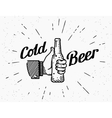 Thumbs up symbol icon with beer bottle vector image