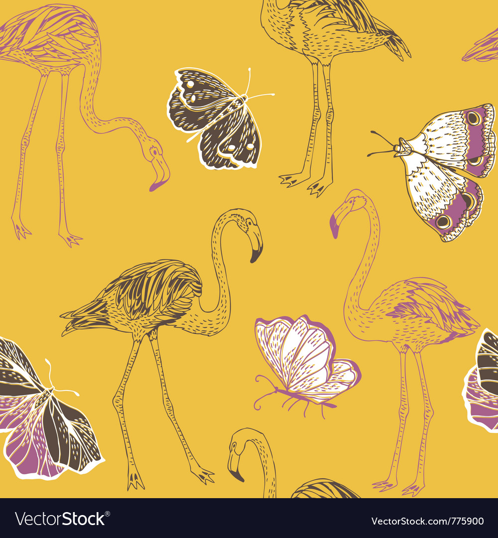 Flamingos and butterflies vector