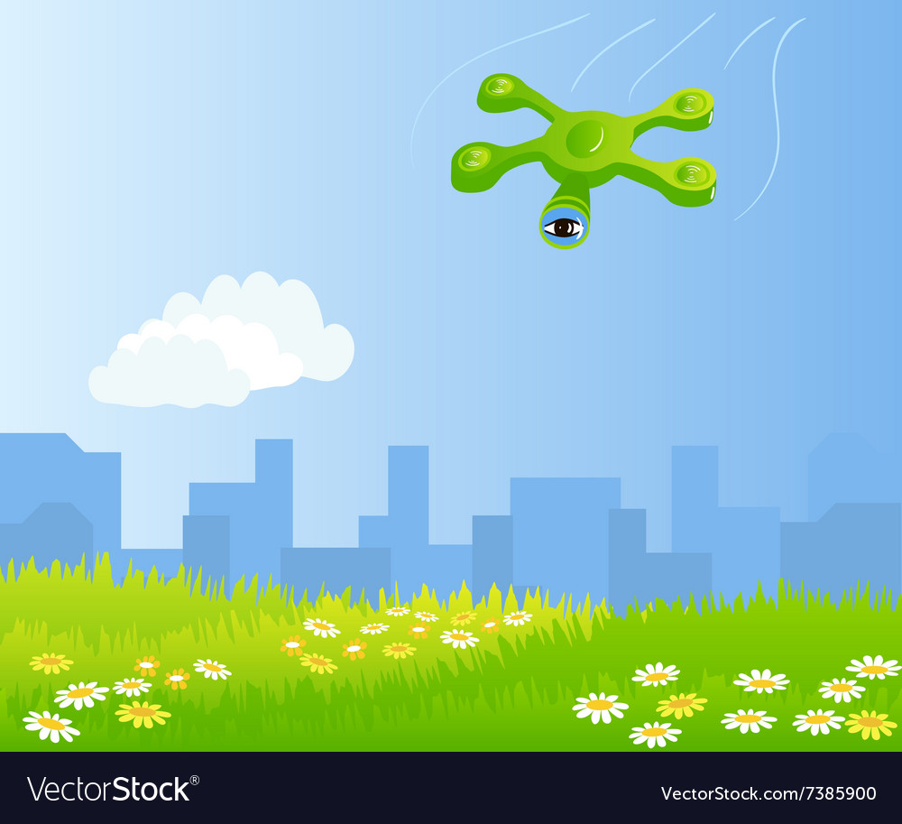 Funny quadrocopter flying over green field vector