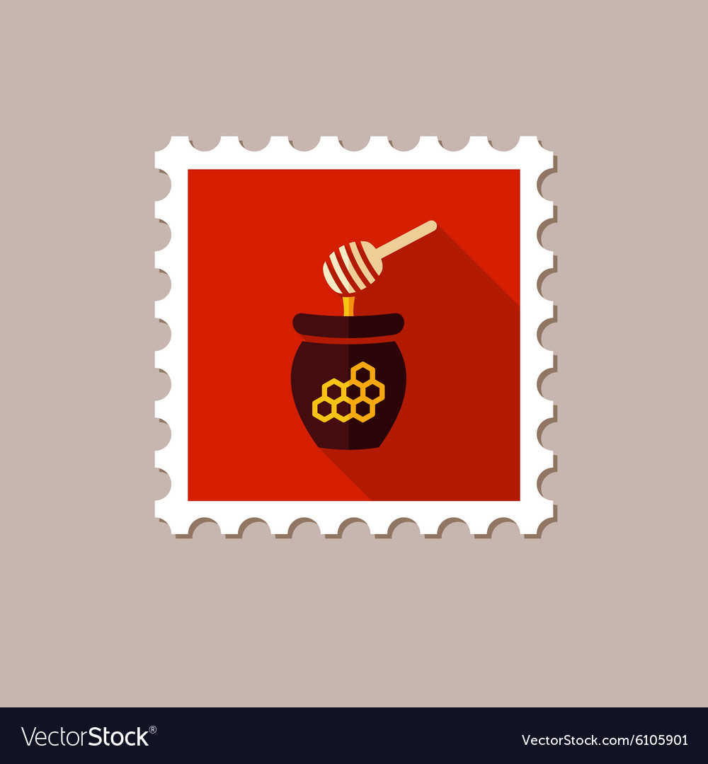 Honey flat stamp with long shadow vector