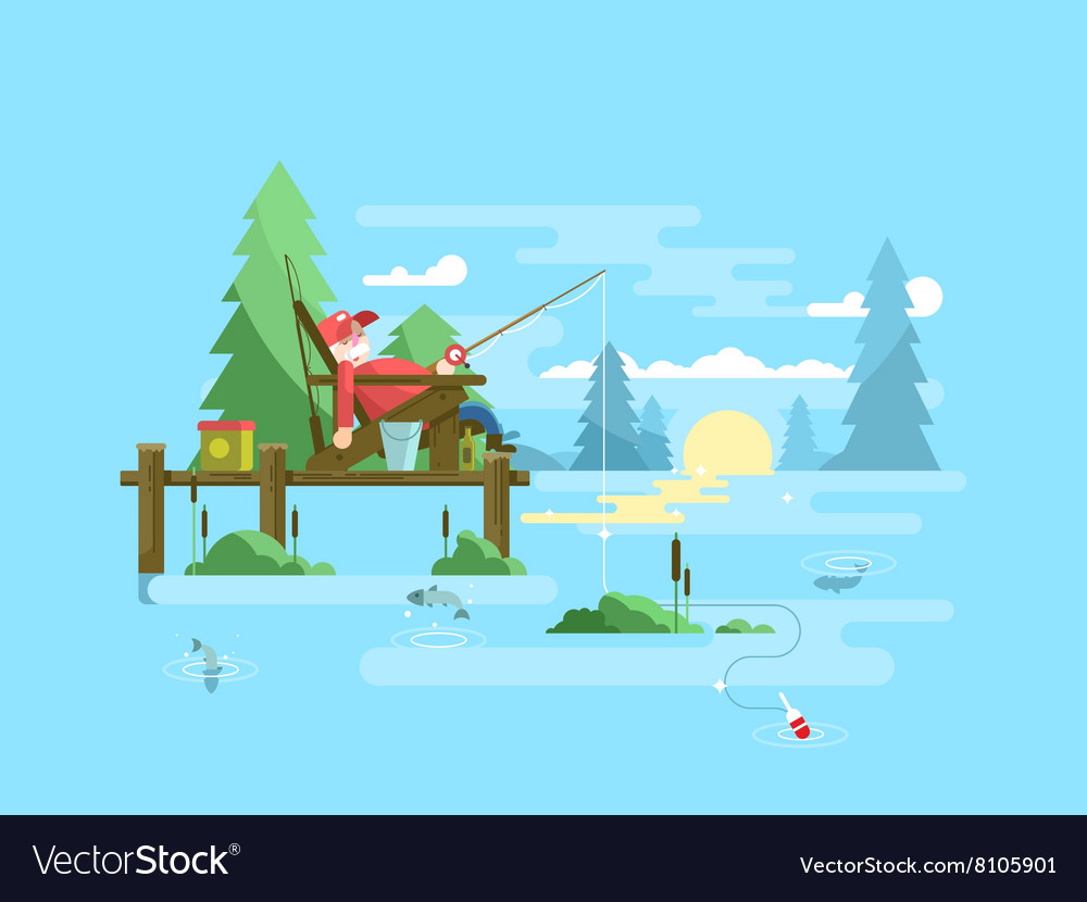 Rest fishing design vector