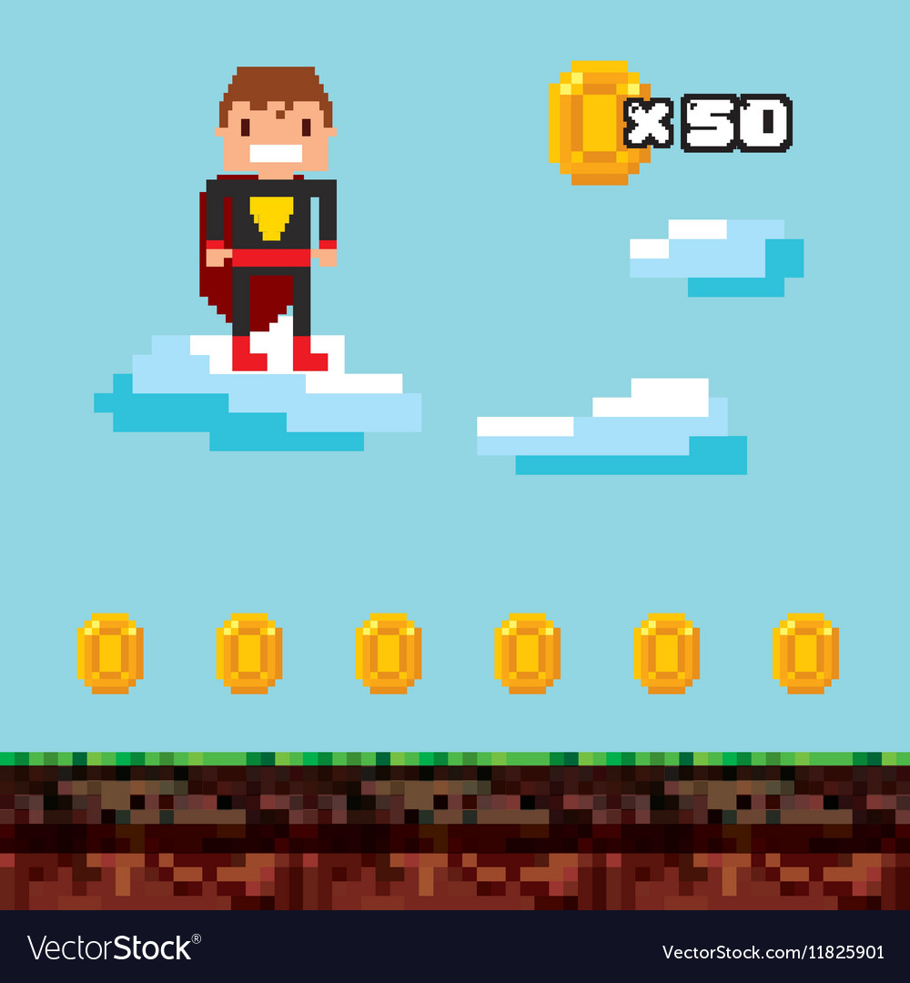Video game pixel design vector