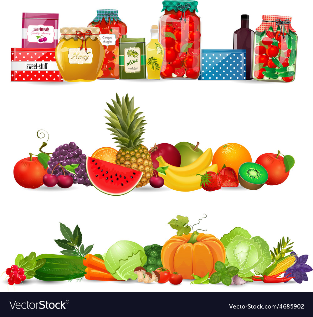 Collection borders with preserve food vegetables vector
