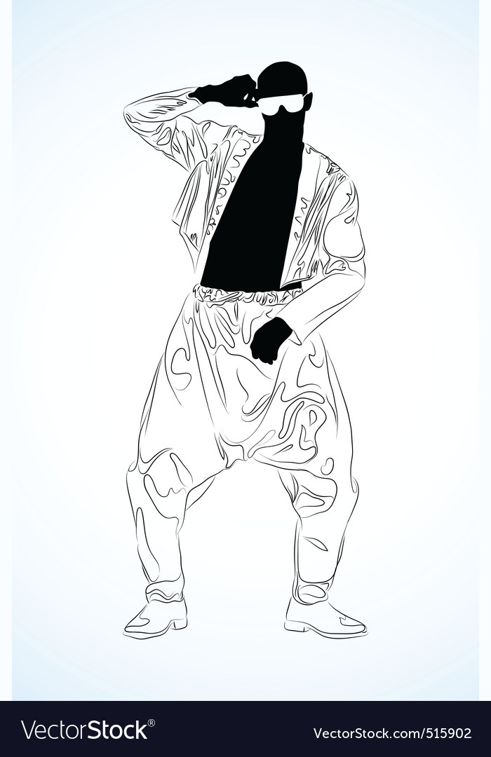Old school rap dancer vector