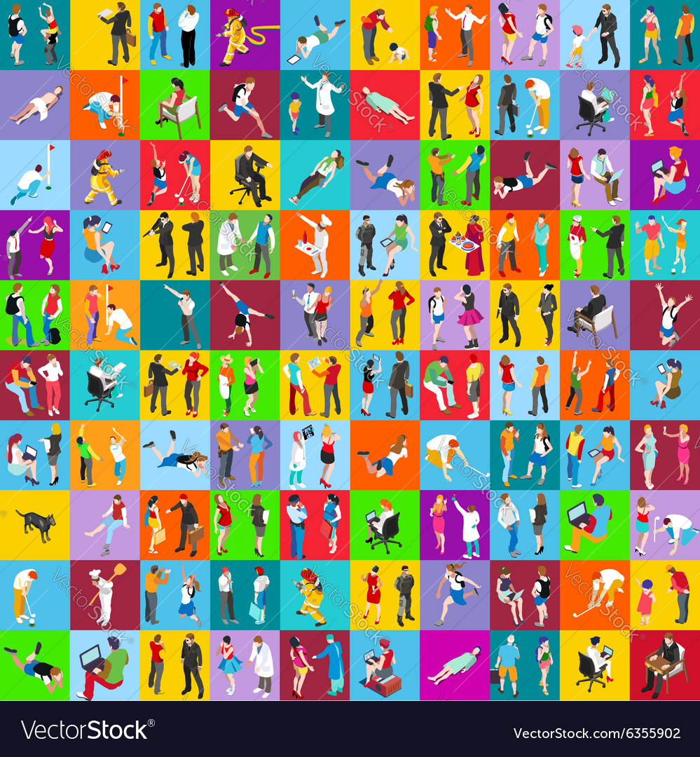 People 01 mega set isometric vector