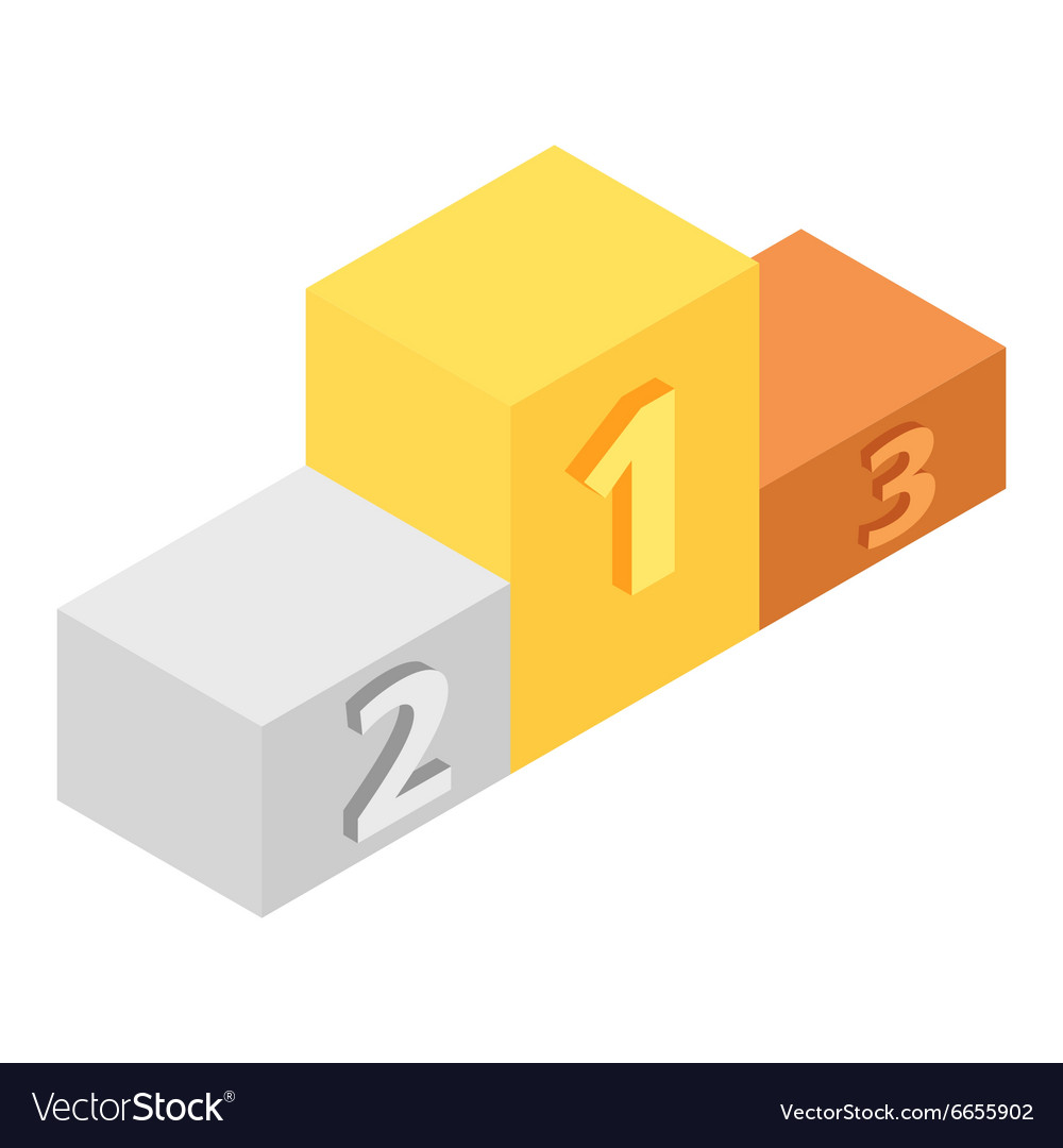 Winners podium isometric 3d icon vector