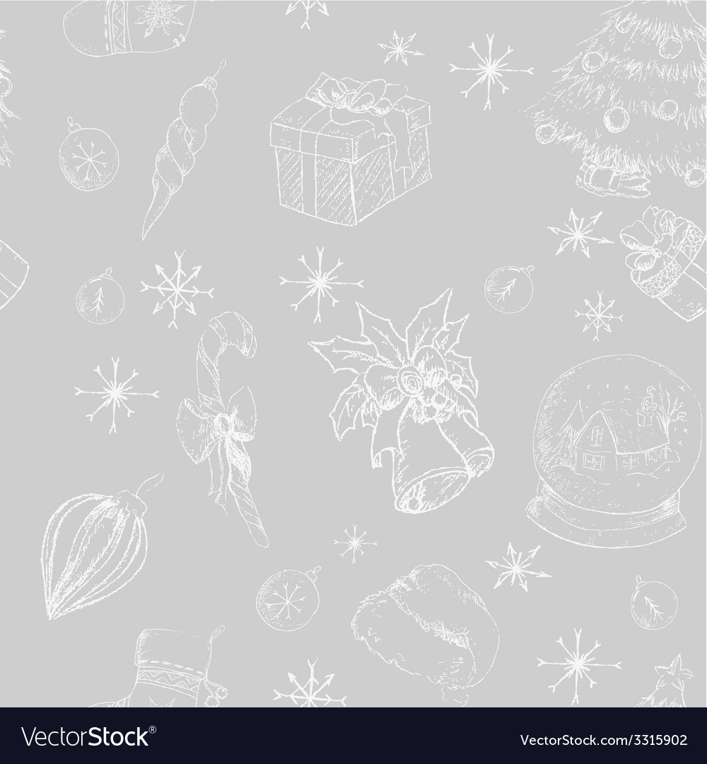 Xmas seamless hand drawn backgrownd gray vector