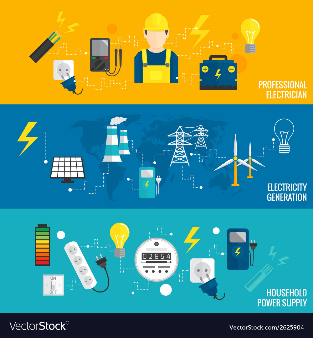 Set of line banner energy generation vector