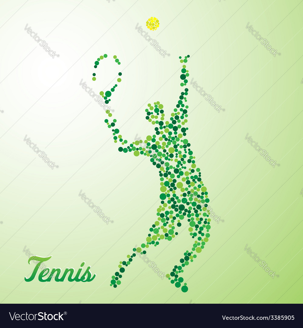 Abstract tennis player kicking the ball vector