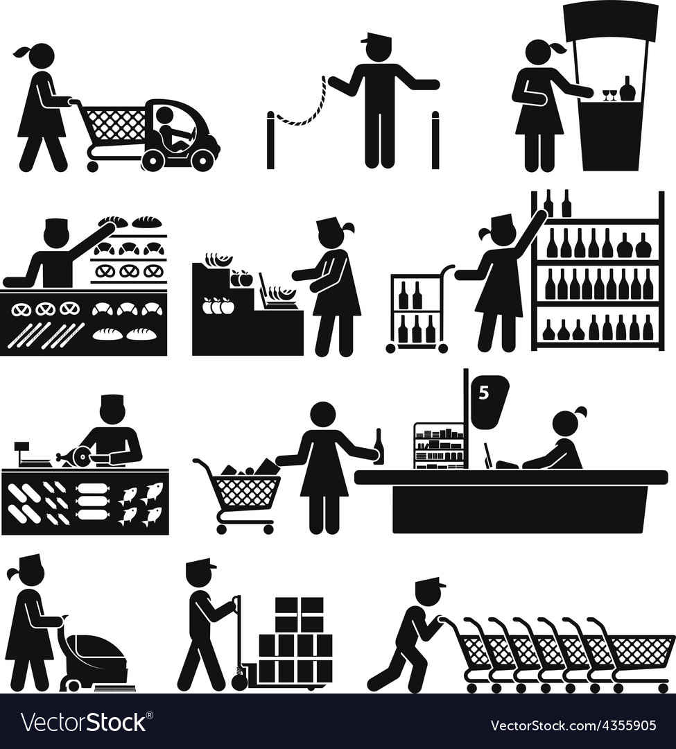 Employees in the supermarket vector