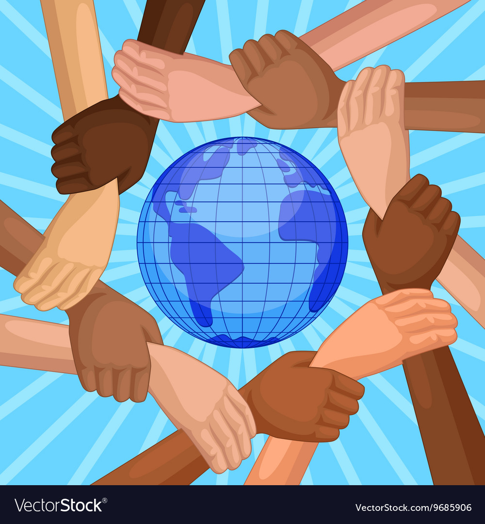 Multicultural hands around globe vector
