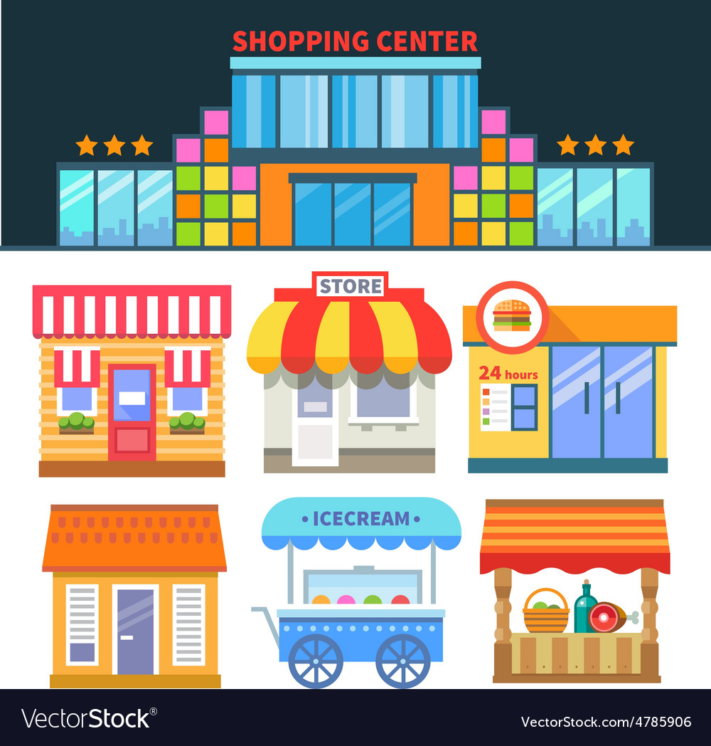 Shops and trade vector