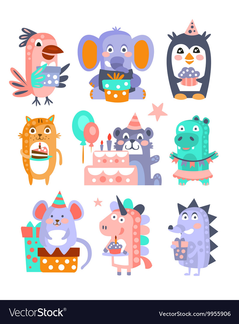 Stylized funky animals birthday celebration vector