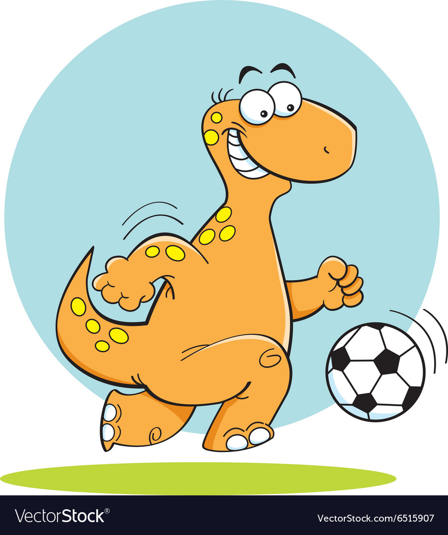 Cartoon dinosuar playing soccer vector
