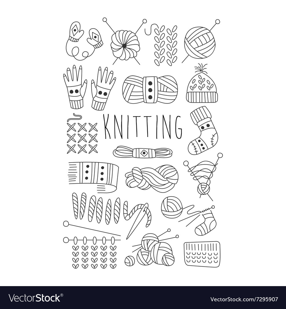 Knitting black and white hand drawn set vector