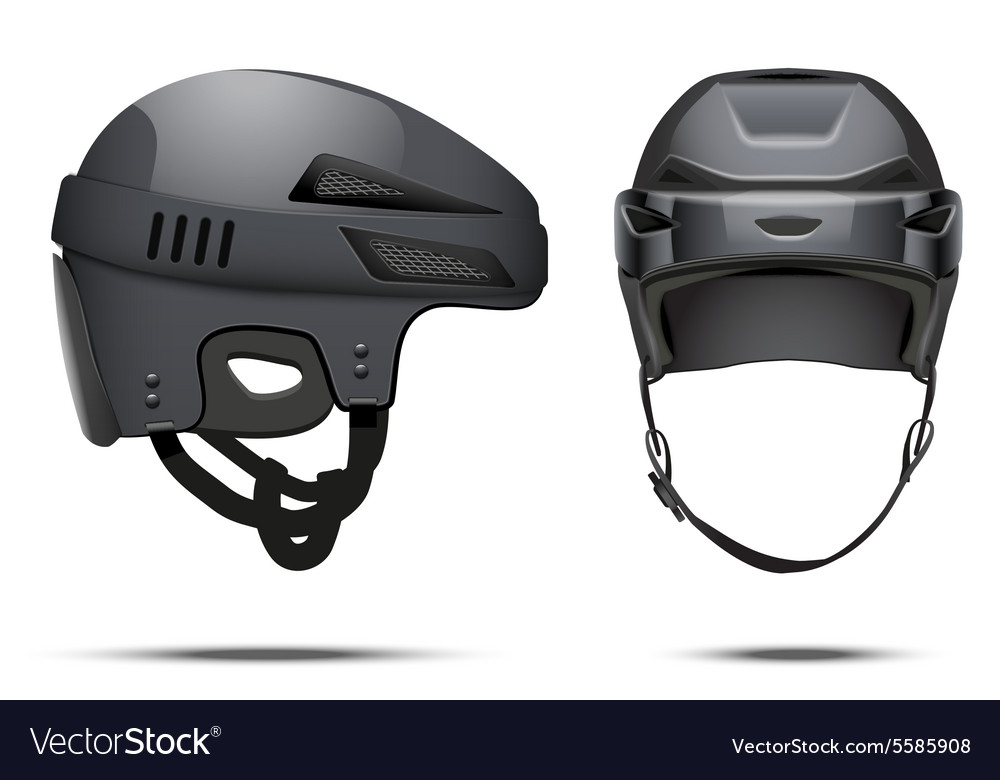 Classic black hockey helmet vector