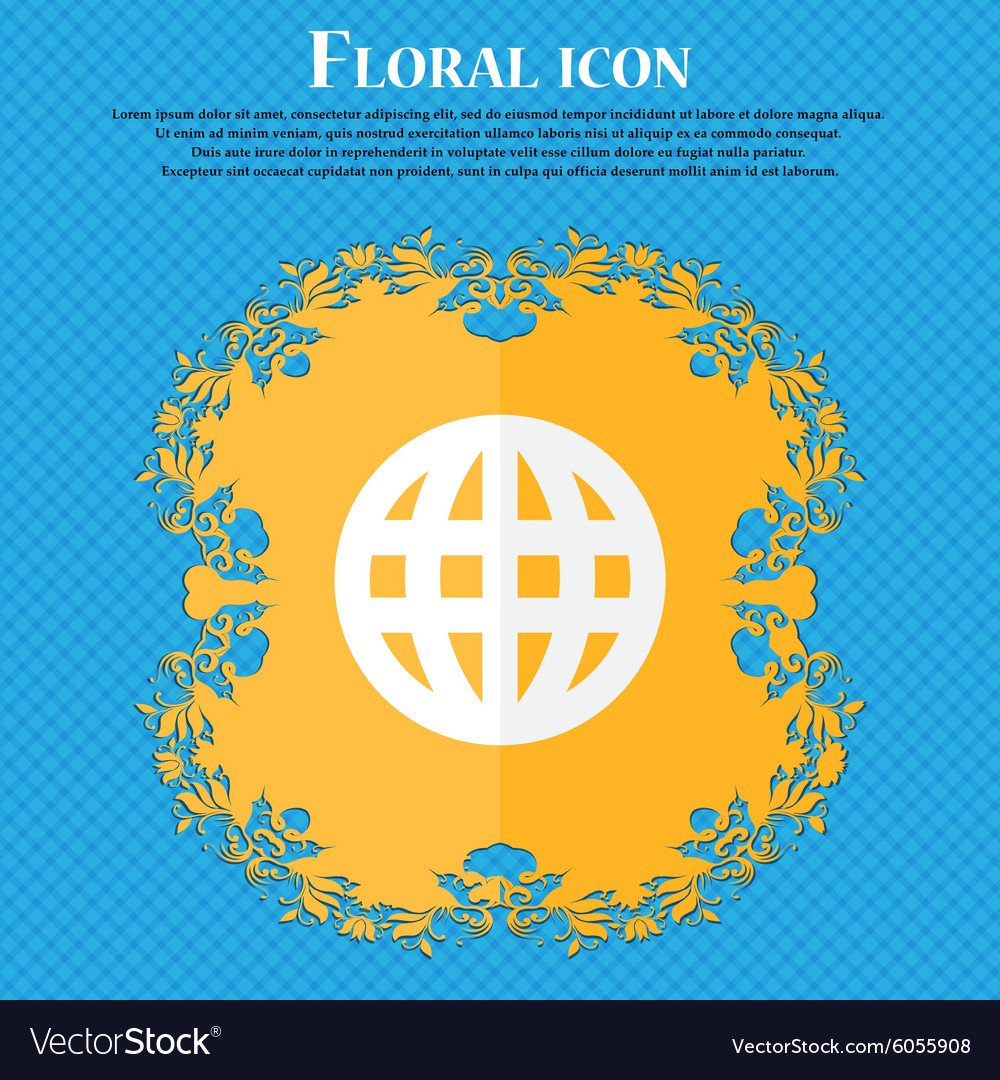 Globe world map geography floral flat design on a vector