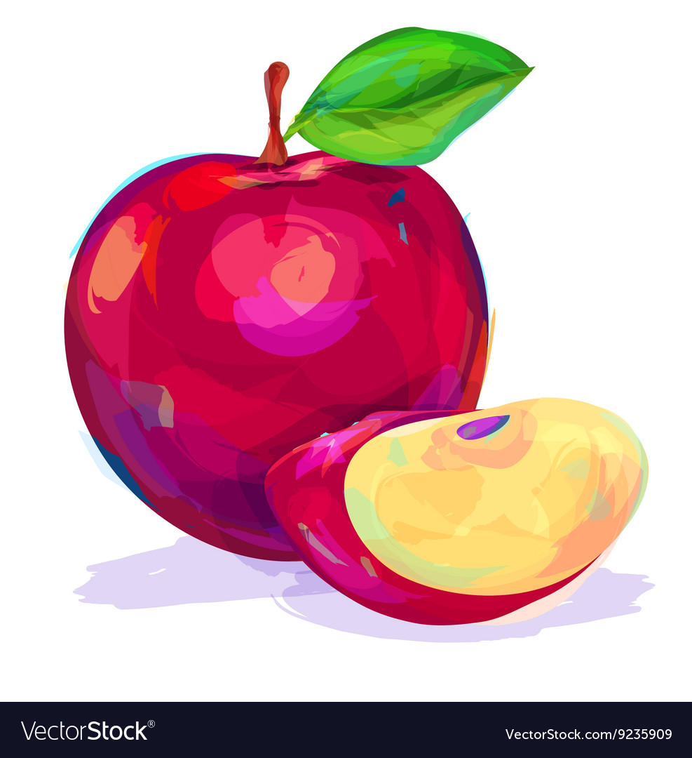 Apple hand drawn on a white background vector