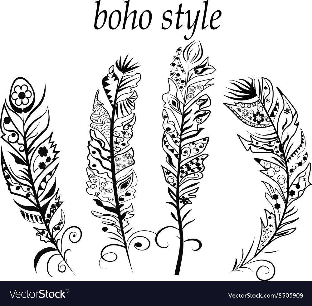 Textured feathers vector