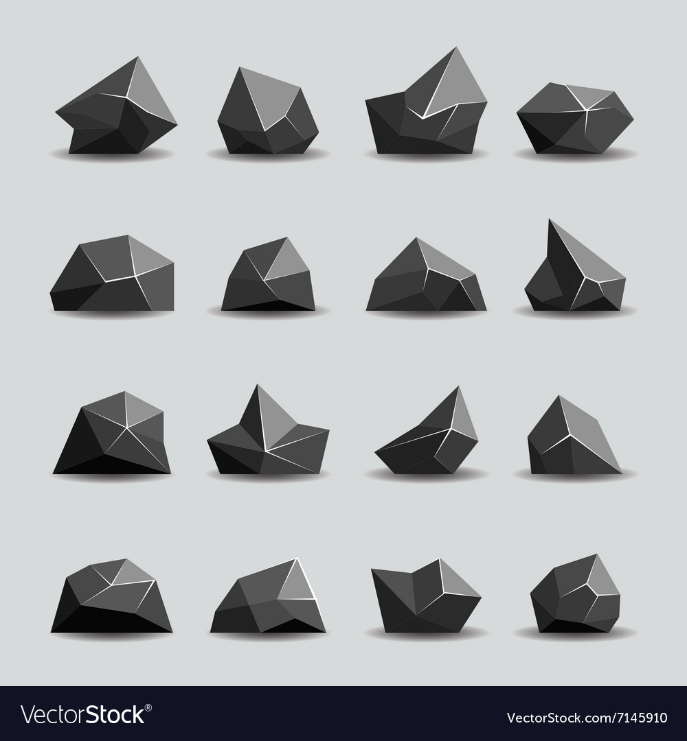 Black polygon stone and poly rocks vector