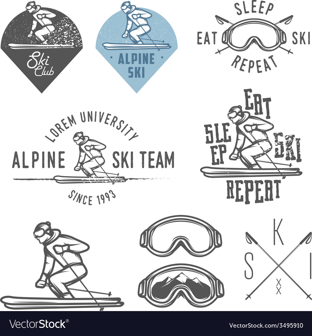 Set of retro ski emblems badges and design elemen vector