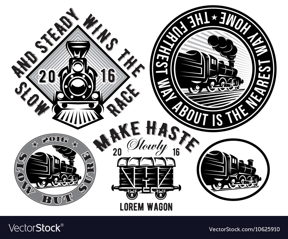 Set of templates with retro locomotive wagon vector
