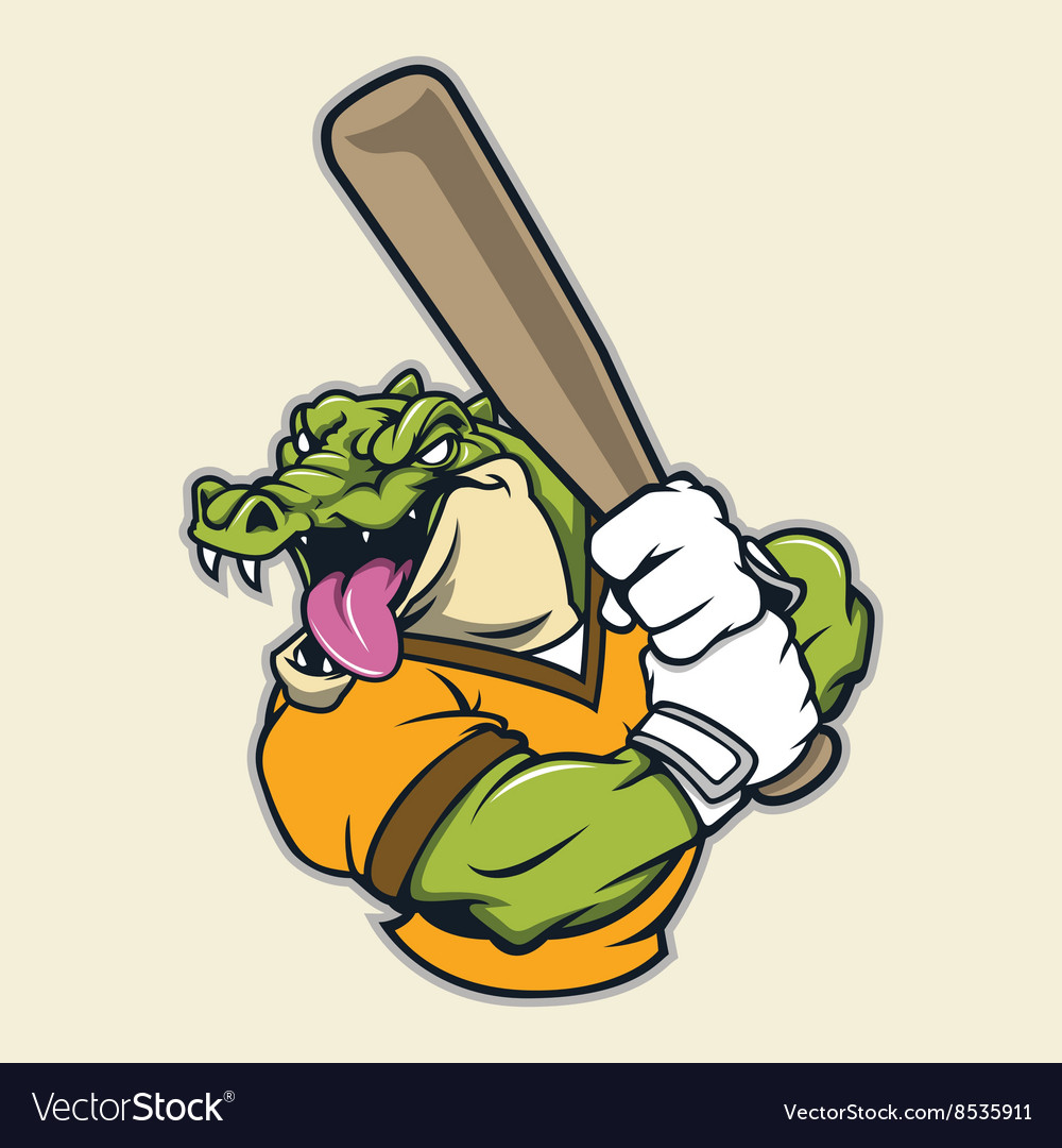 Crocodile basebal mascot vector