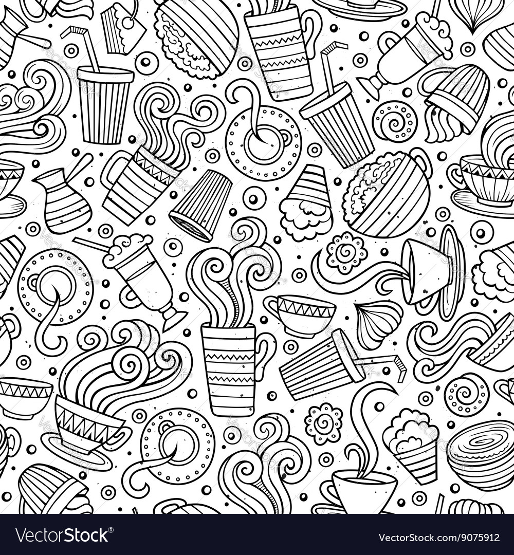 Cartoon handdrawn coffee shop seamless pattern vector