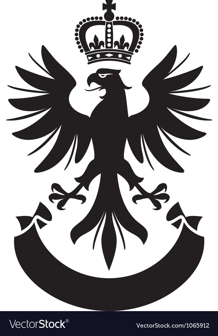 Eagle with crown and banner vector