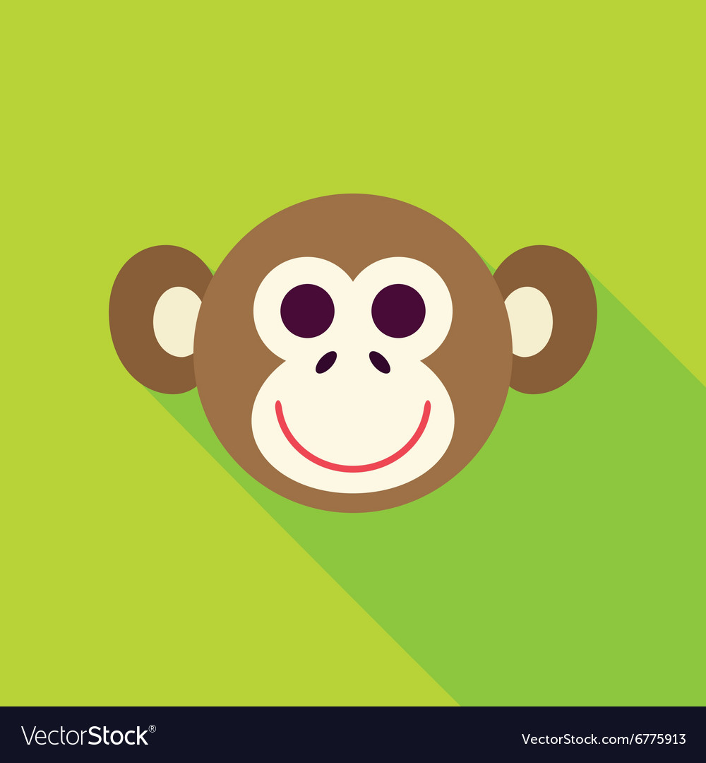 Flat design monkey face icon vector