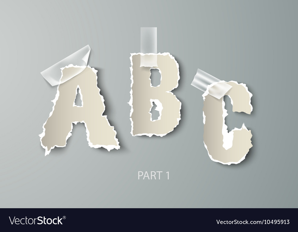 Set alphabet torn paper with transparent vector