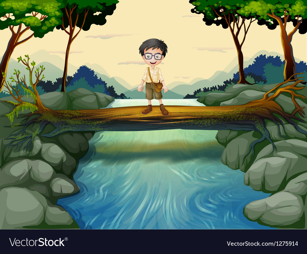 A boy standing in the middle of the trunk vector