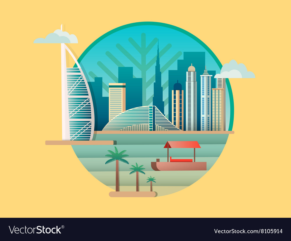 Dubai city building icon vector