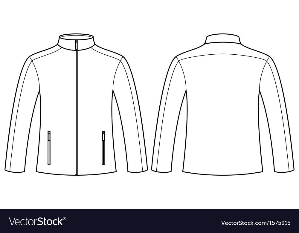 Jacket template  front and back vector