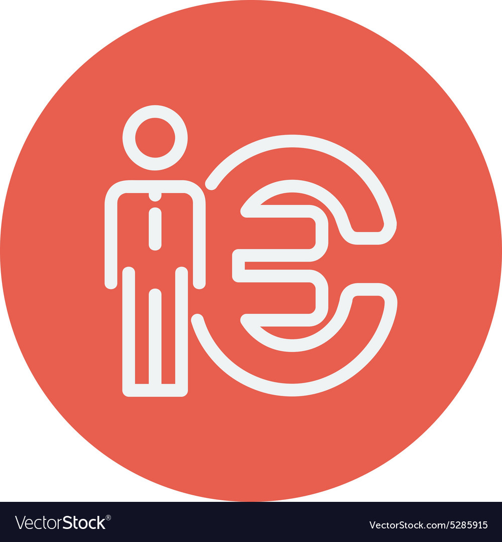 Man standing beside the euro symbol thin line icon vector