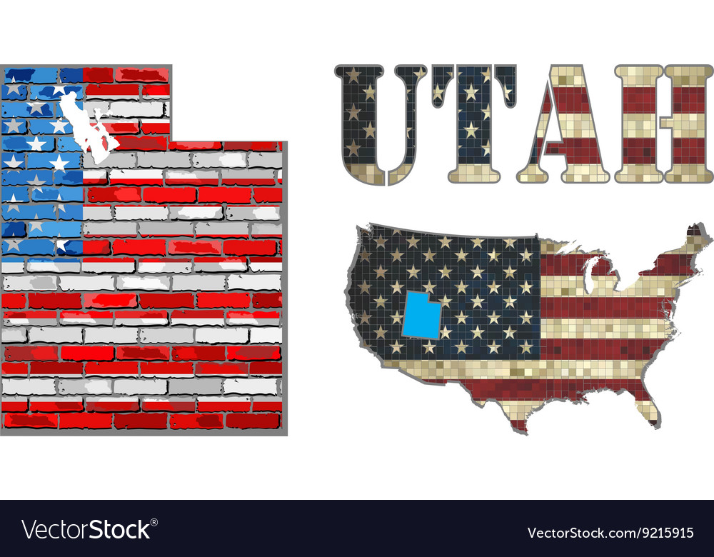 Usa state of utah on a brick wall vector