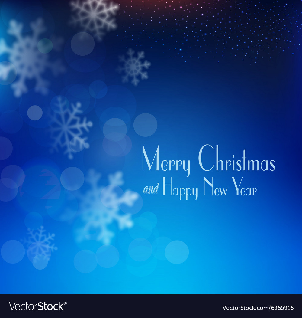 Blue christmas background with snowflakes blurred vector