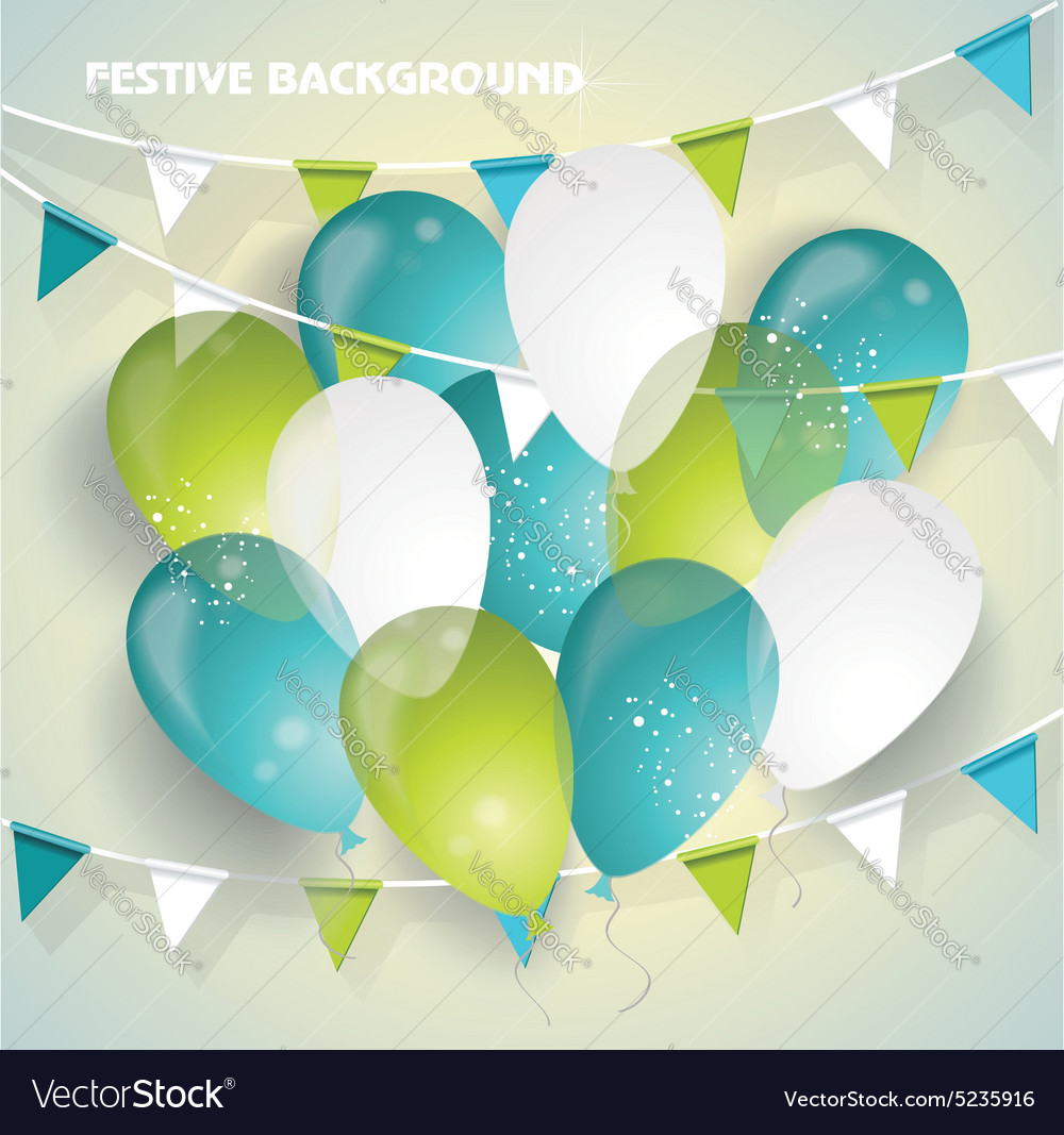 Festive background with colorful balloons pennants vector