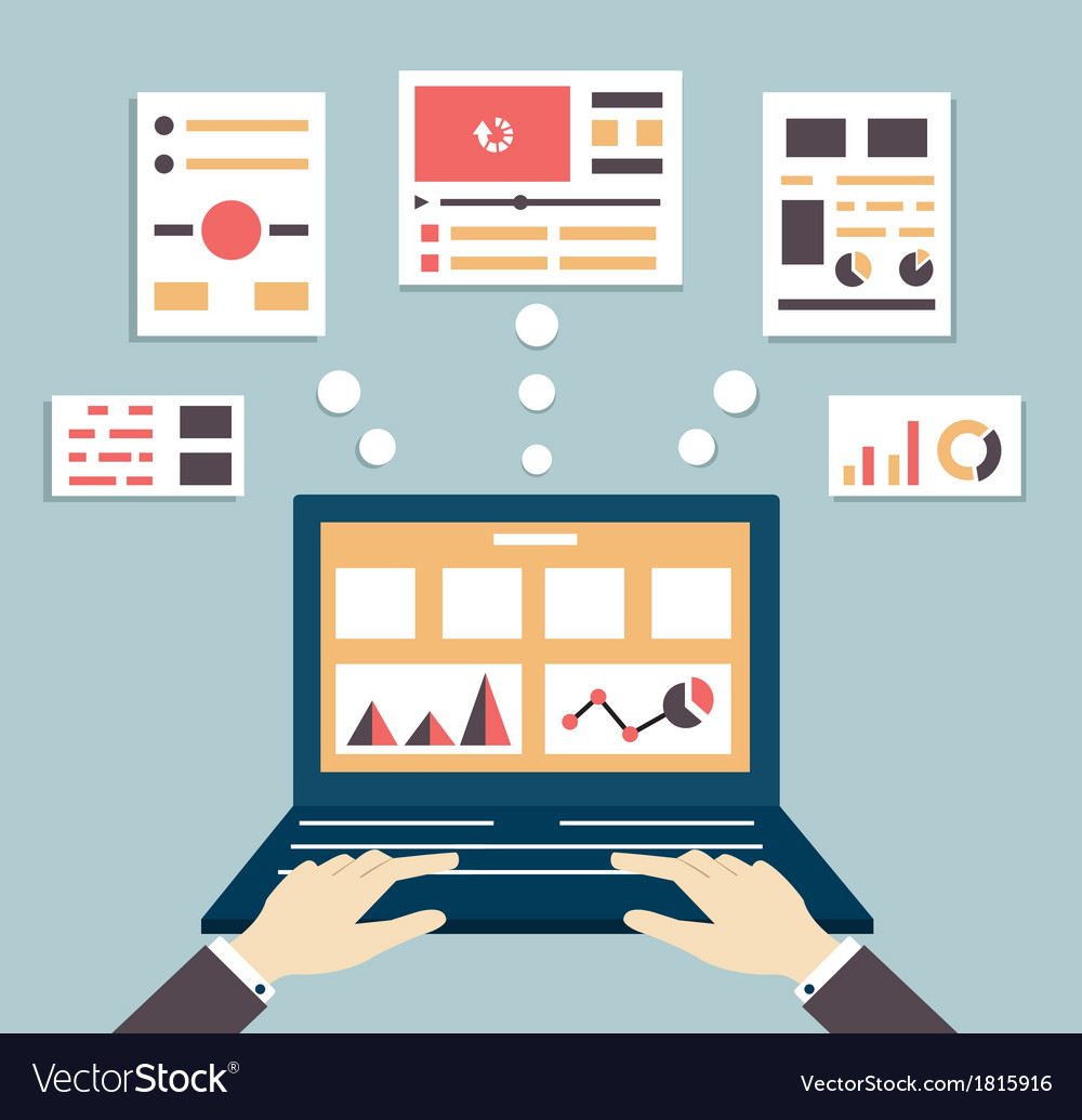 Flat of web and application optimization vector