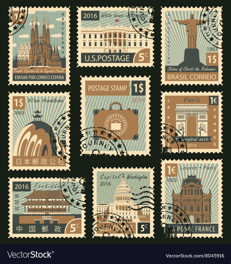 Stamps with different architectural attractions vector