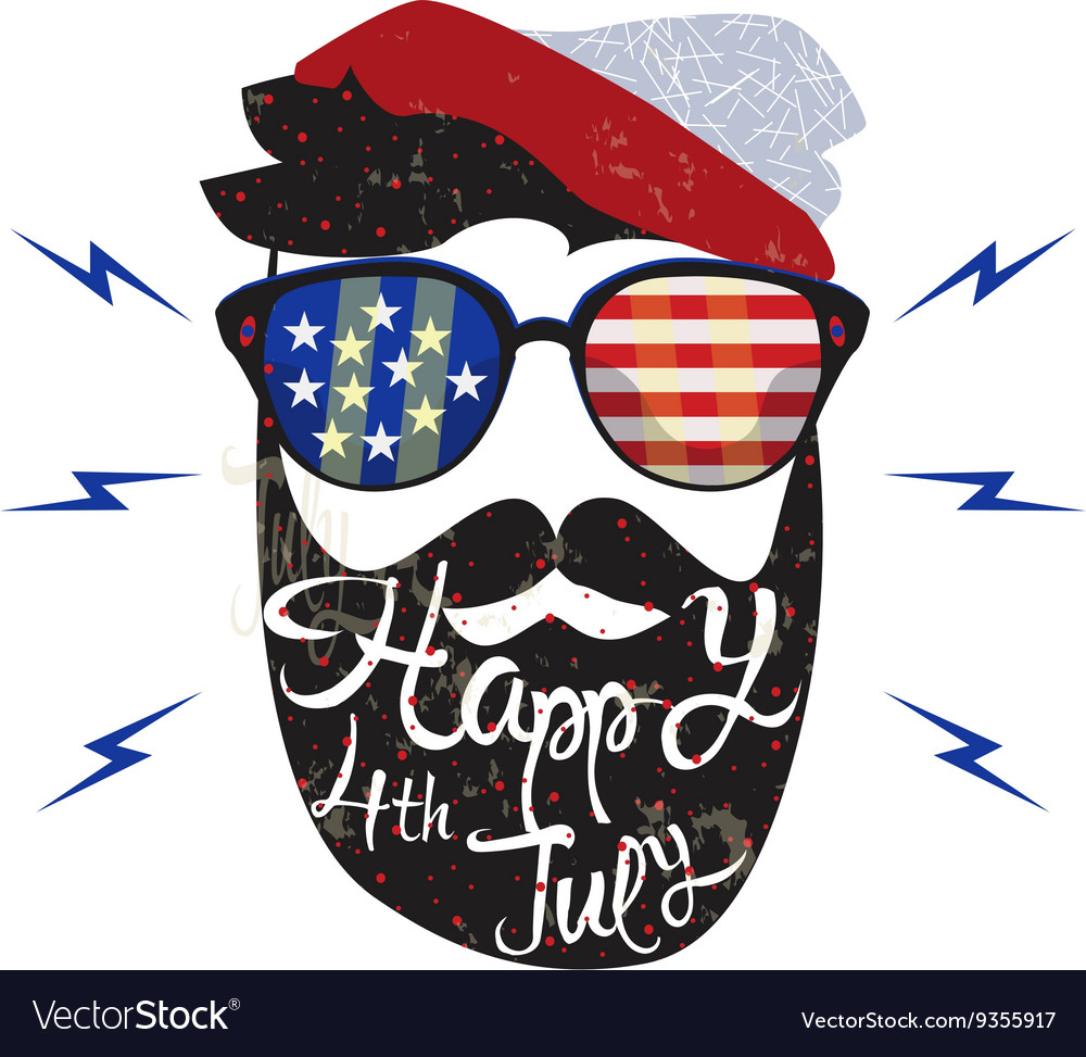 American cowboy july fourth vector
