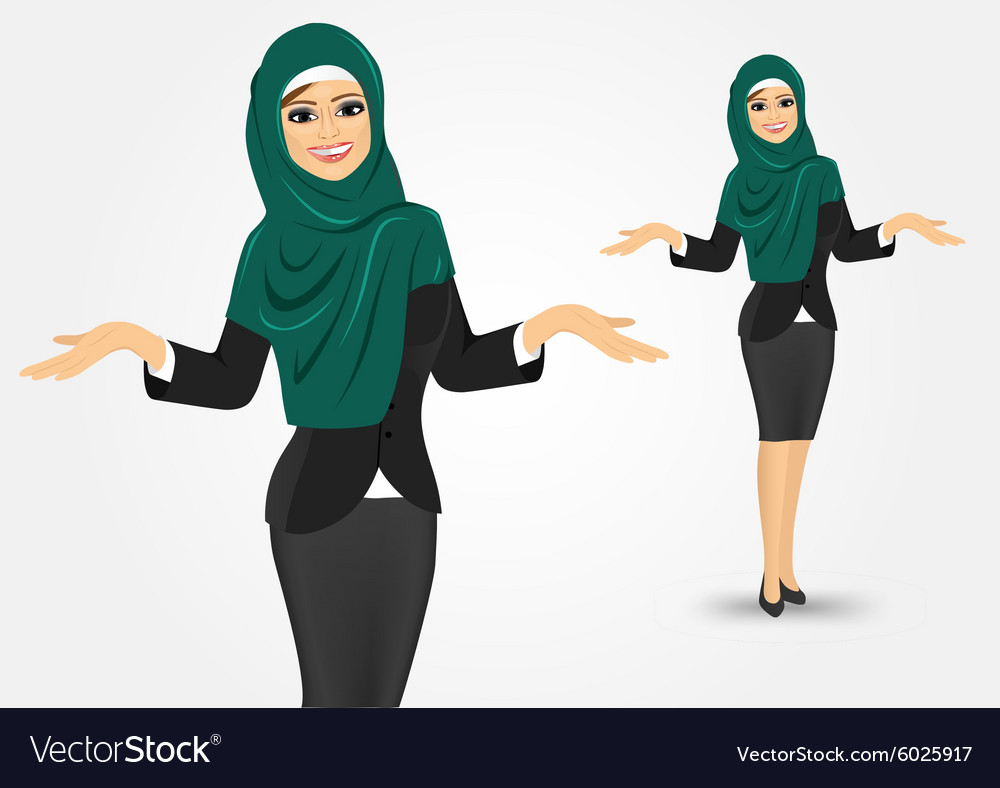 Arabic business woman showing something vector