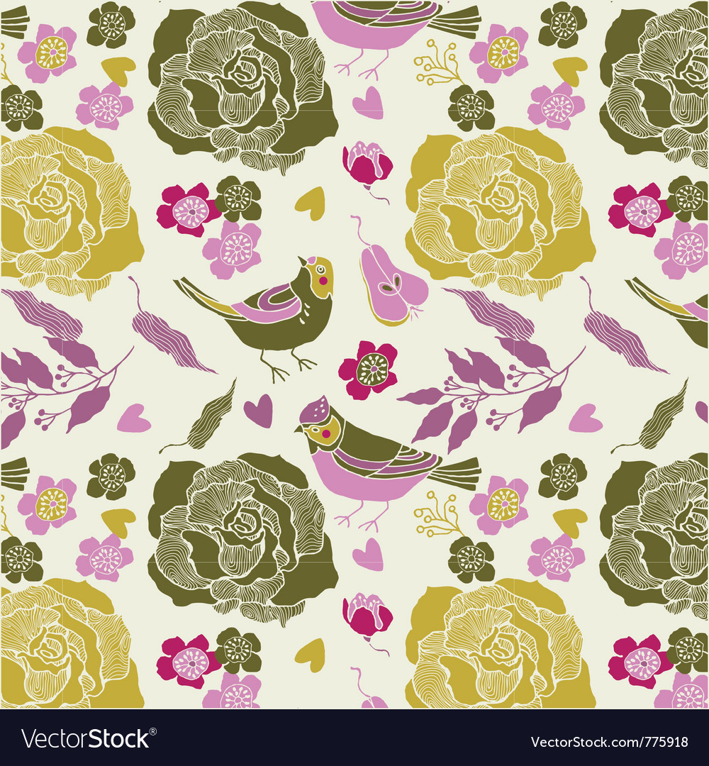 Birds and roses vector