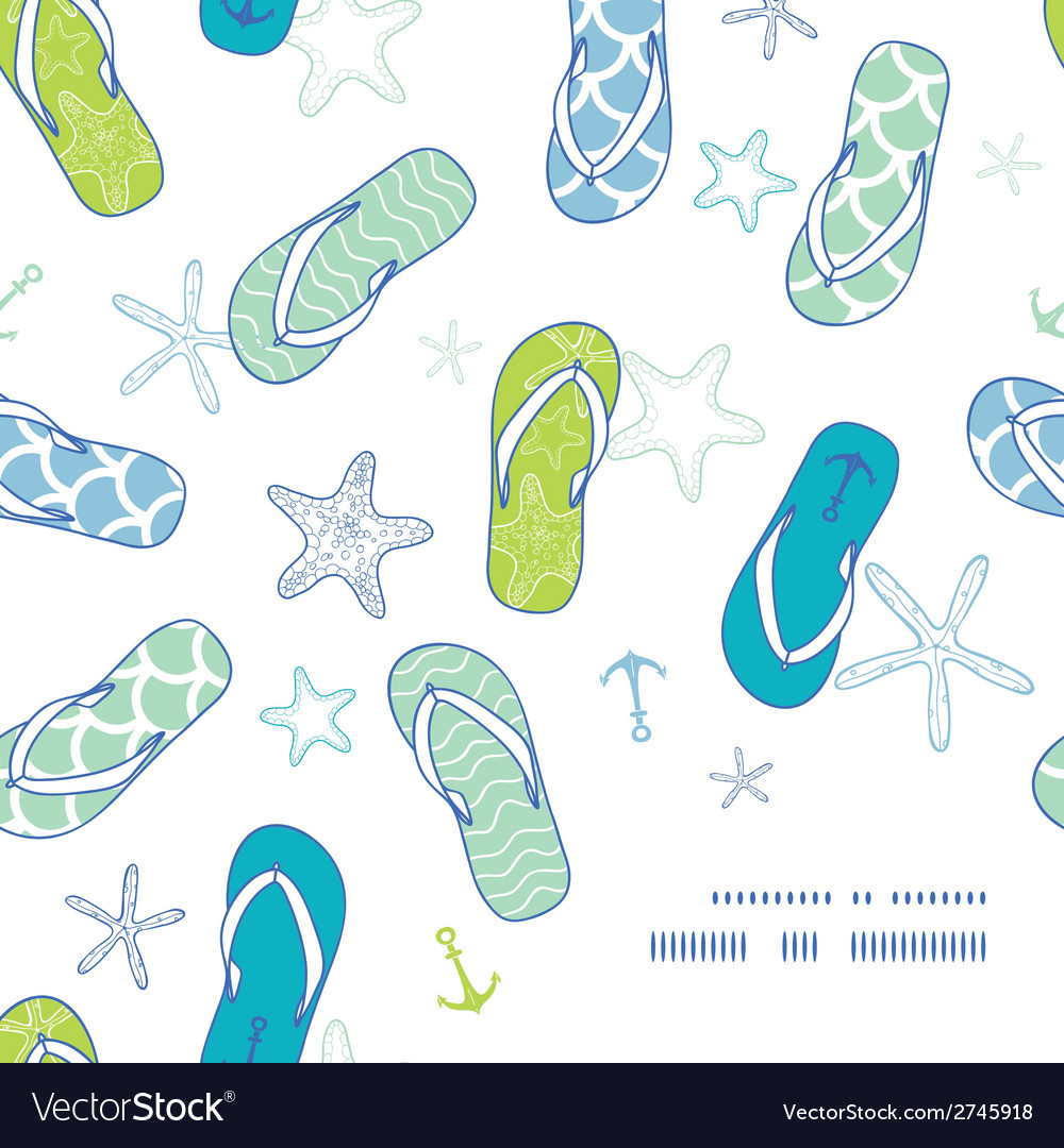 Nautical flip flops blue and green frame corner vector