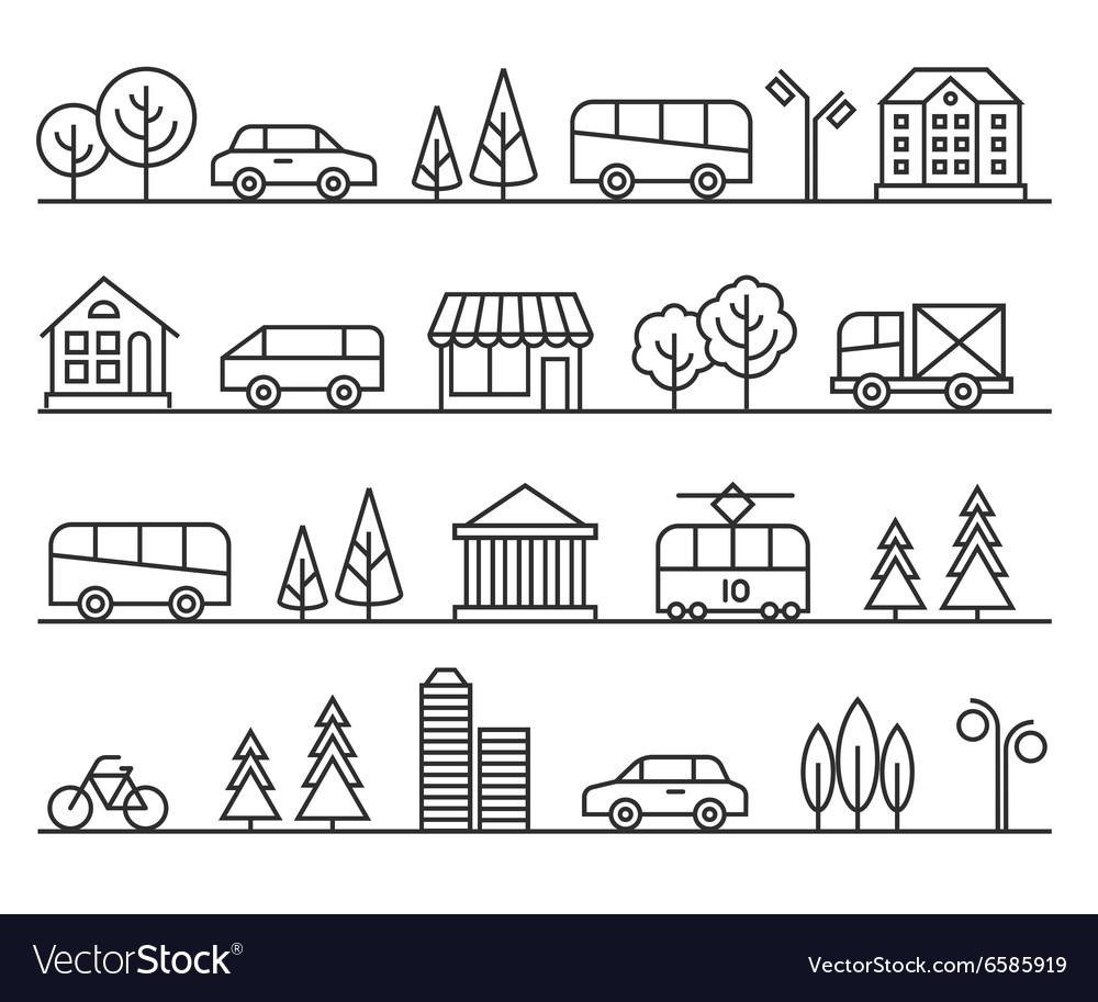 Line city urban landscape vector