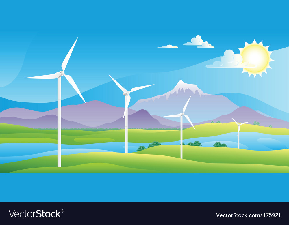 Wind turbines farm landscape vector