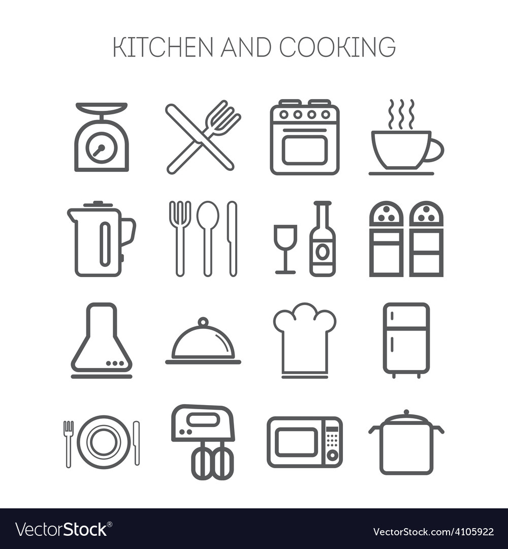 Set of simple icons for kitchen and cooking vector